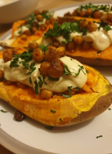 Baked Sweet Potatoes With Crispy Chickpeas and Tahini