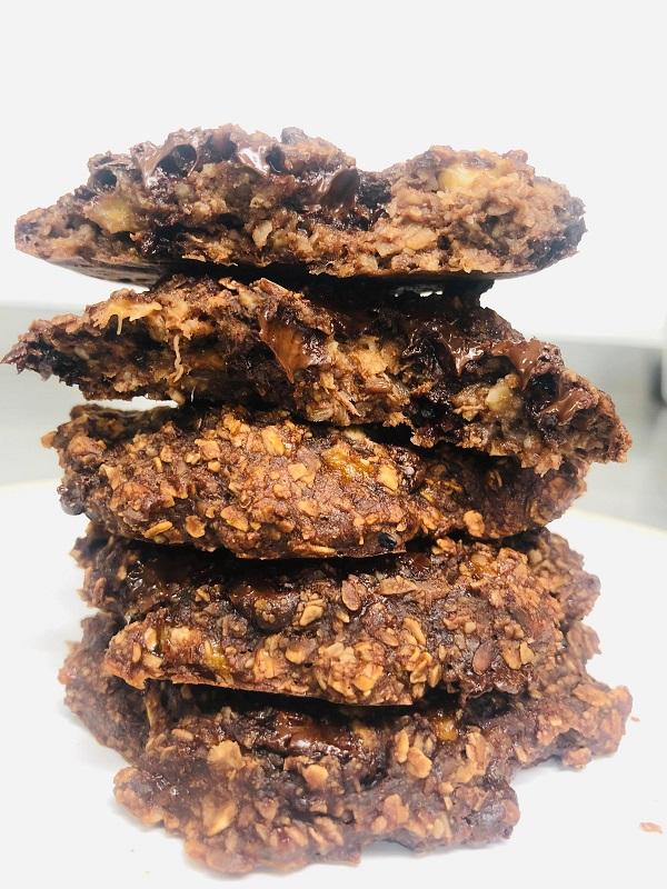 Easy Healthy Vegan Double Chocolate Oat Cookies
