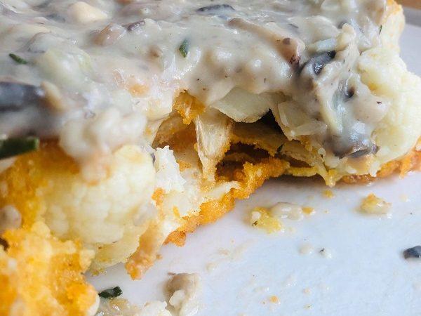 Vegan Crispy Cauliflower Steak With Creamy Mushroom Sauce