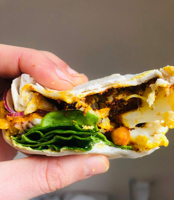 Spiced Crispy Chickpeas & Cauliflower Wrap