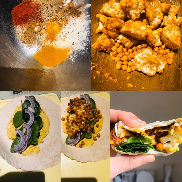 Spiced Crispy Chickpeas & Cauliflower Wrap