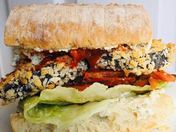 Healthy Crispy Eggplant Sandwich With Creamy Spread