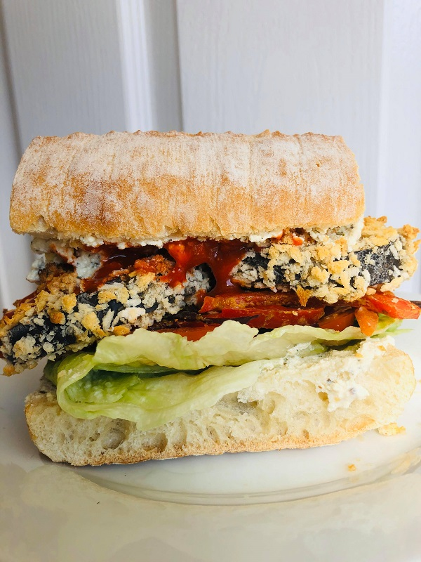 Healthy Crispy Eggplant Sandwich With Creamy Spread