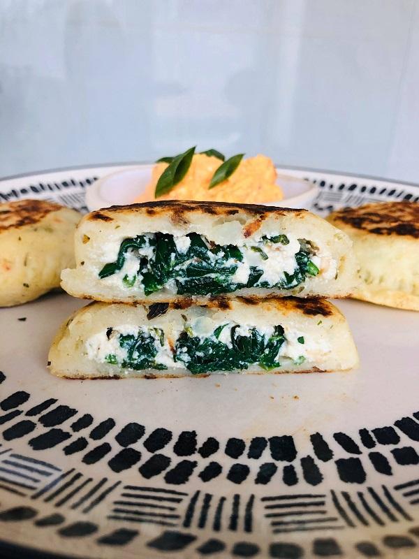 Spinach & Ricotta Stuffed Vegan Potato Cakes