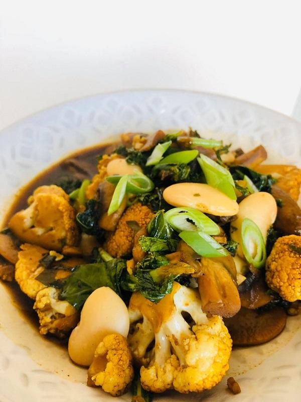 Kale Mushroom & Bean Stir-Fry