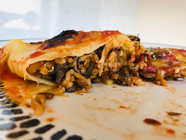 Healthy Stuffed Cabbage Rolls With Lentils & Mushroom