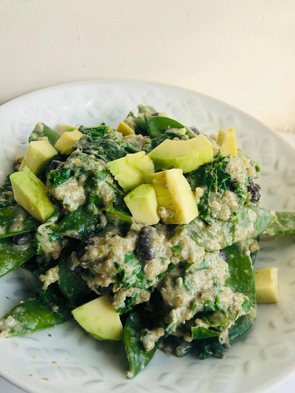 Easy Healthy Vegan Creamy Kale & Quinoa Salad