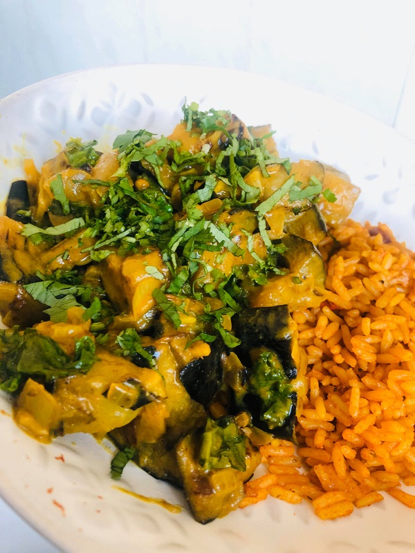 Easy Creamy Vegan Peanut Eggplant Curry