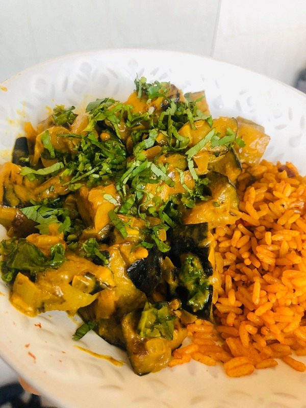 Easy Creamy Vegan Peanut Eggplant Curry