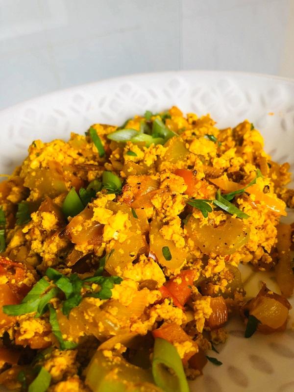 Easy Vegan Indian Inspired Tofu Scramble