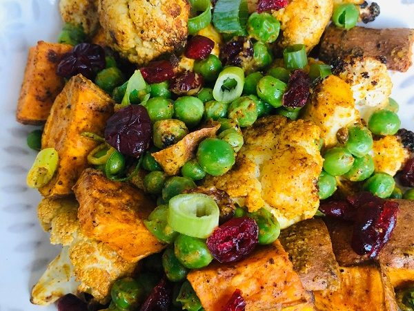 Easy Healthy Curried Cauliflower & Pea Salad