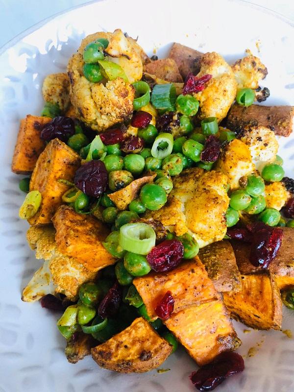Easy Healthy Curried Cauliflower & Pea Salad