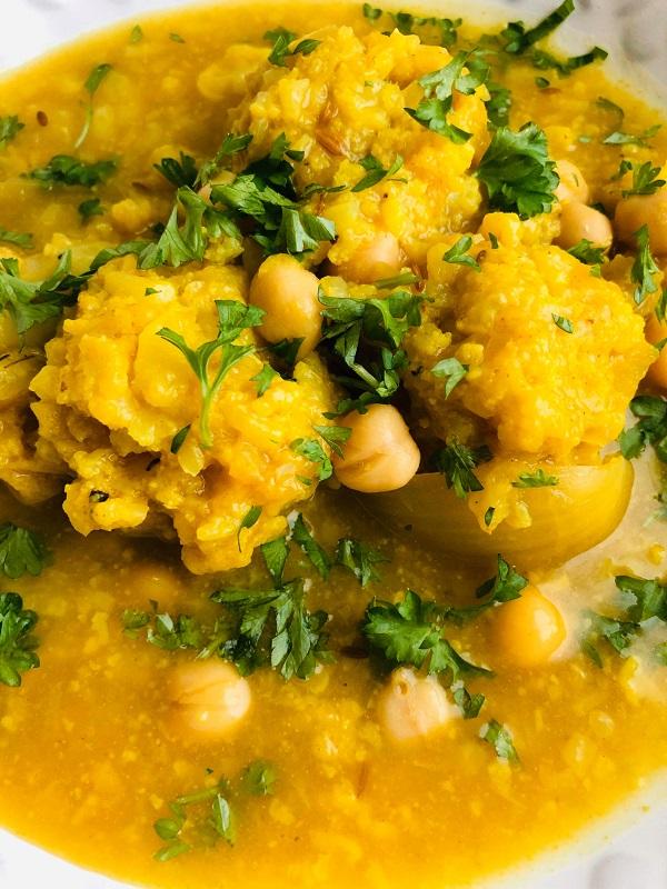 Vegan Gondi ( Chickpea Dumpling Stew )
