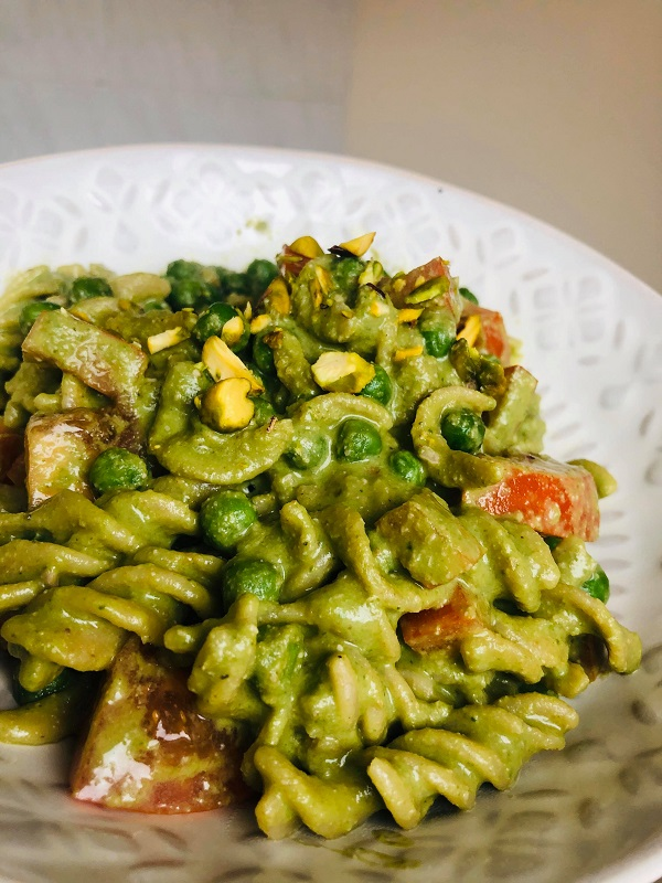 This Easy Healthy Vegan Pesto Pasta is a delicious quick and easy summer recipe! It can be served as a main dish or side dish, and you can enjoy it warm or cold!