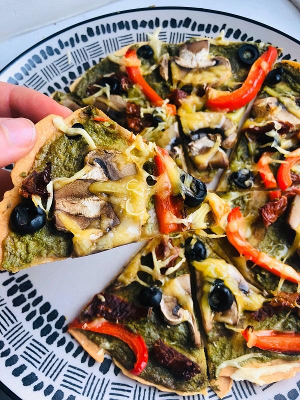 Easy Gluten-Free Healthy Vegan Pesto Pizza