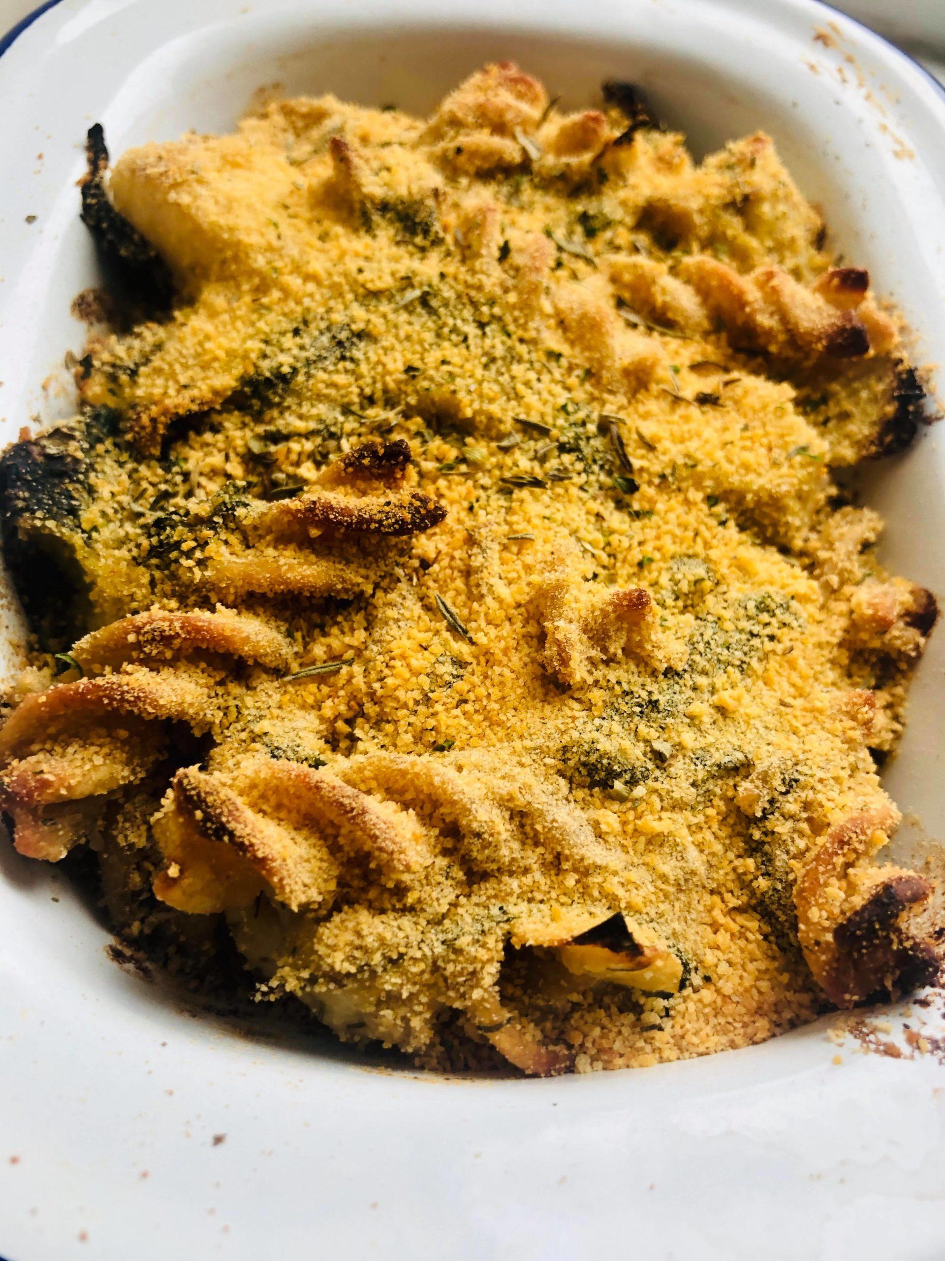 Creamy Vegan Spinach & Artichoke Pasta Bake