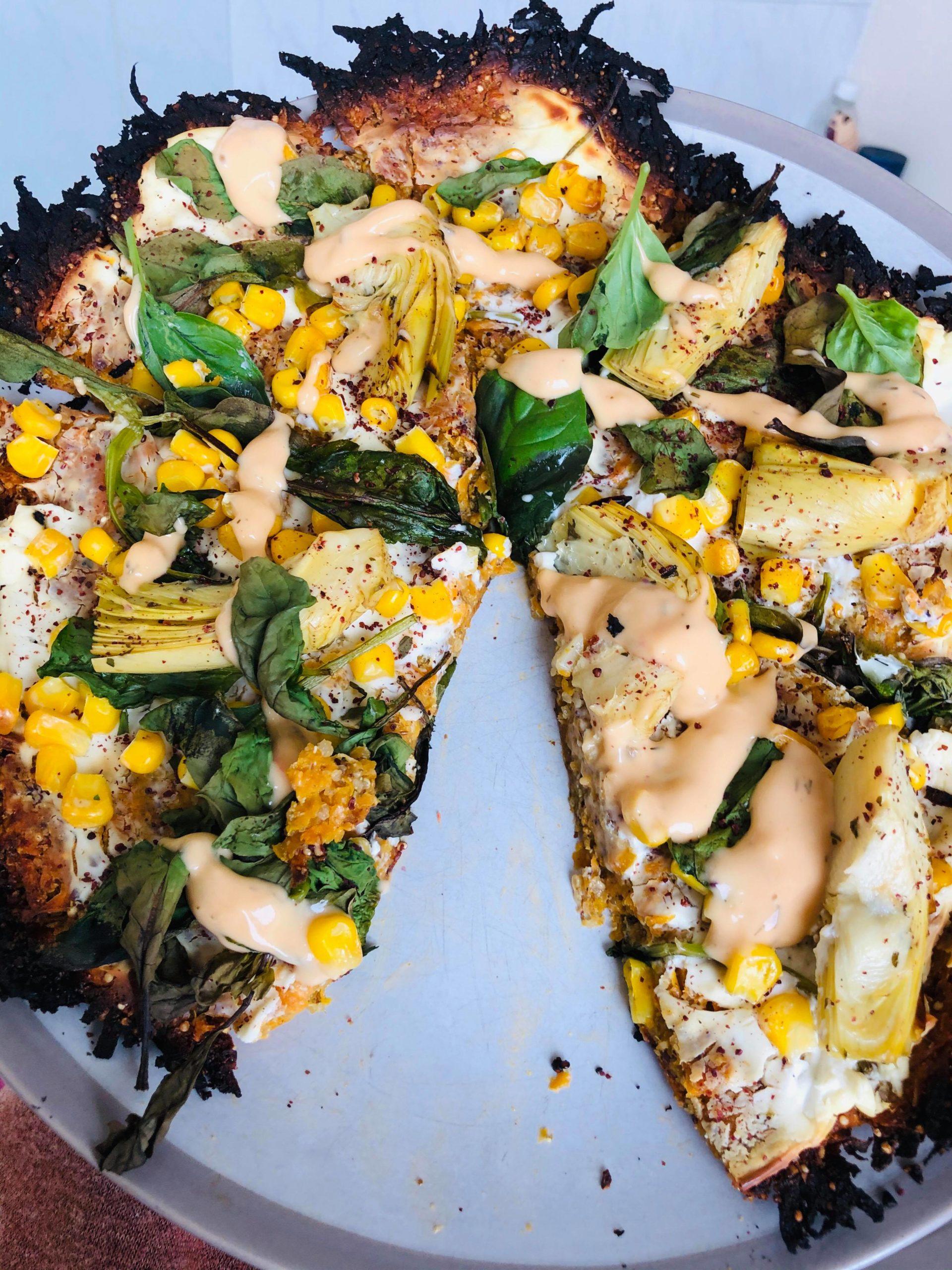 Easy Healthy Vegan Artichoke & Spinach Gluten-Free Pizza
