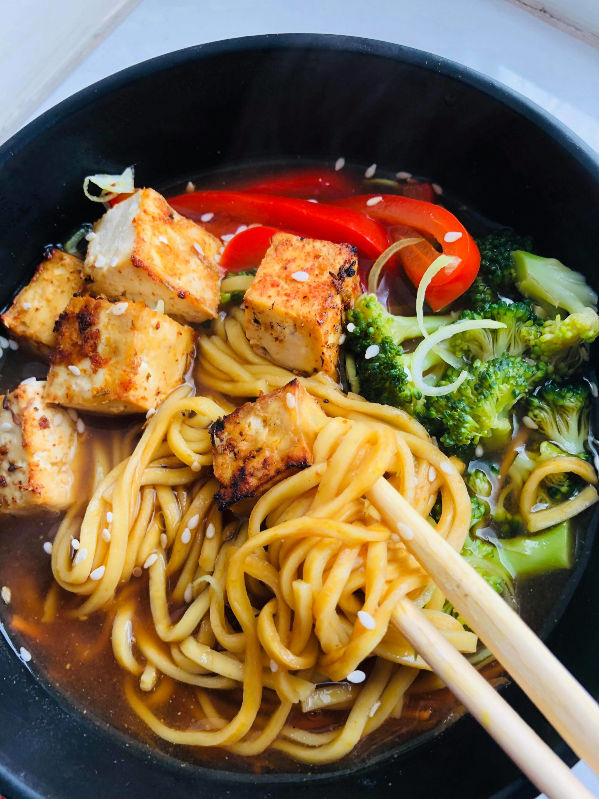 An Incredibly Easy Healthy Vegan Ramen, I call it cheats ramen because it's SOO EASY! All you need is one pot, some vegetable stock, and a few veggies