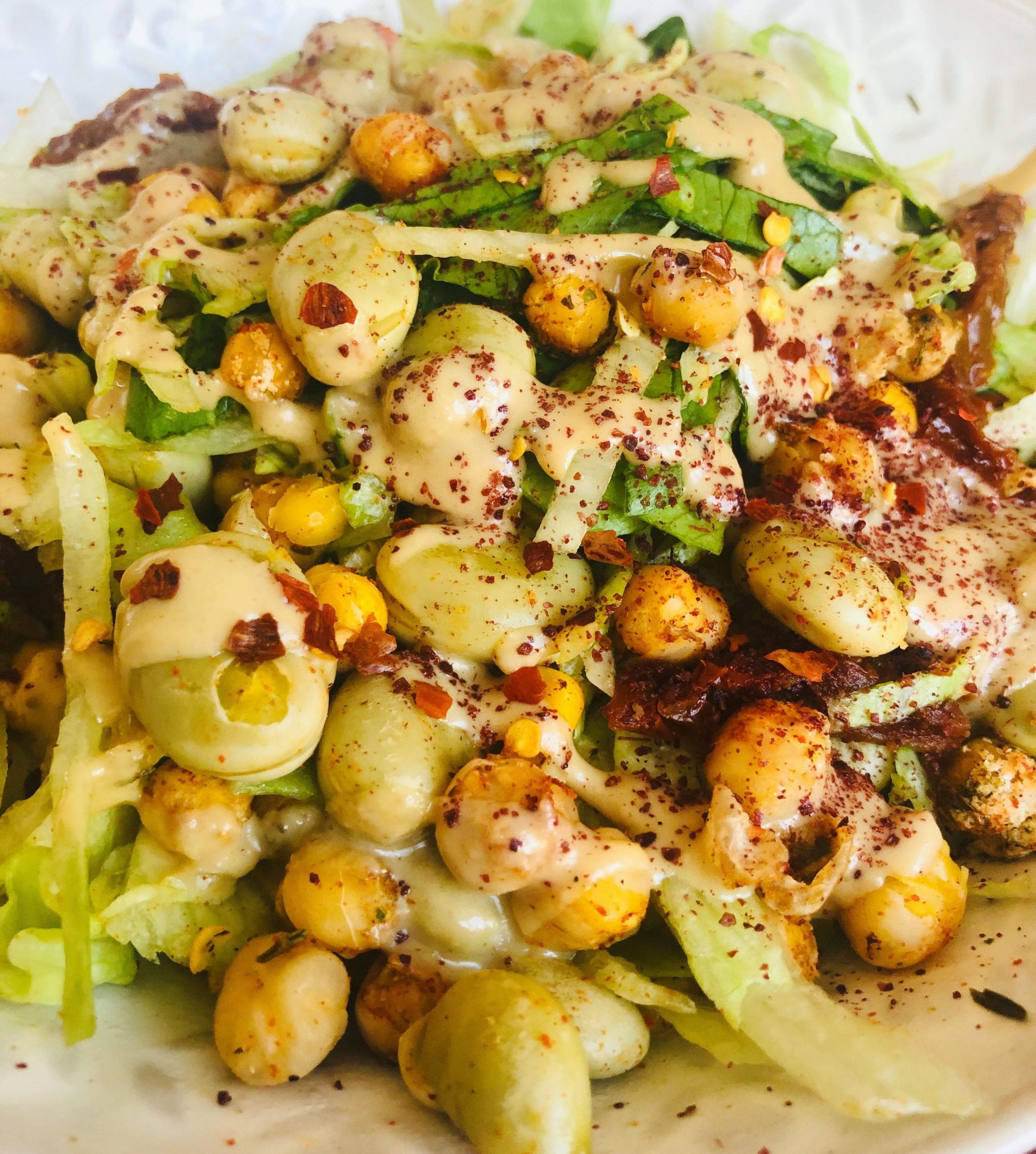 Easy Healthy Crispy Chickpea Broad Bean Salad