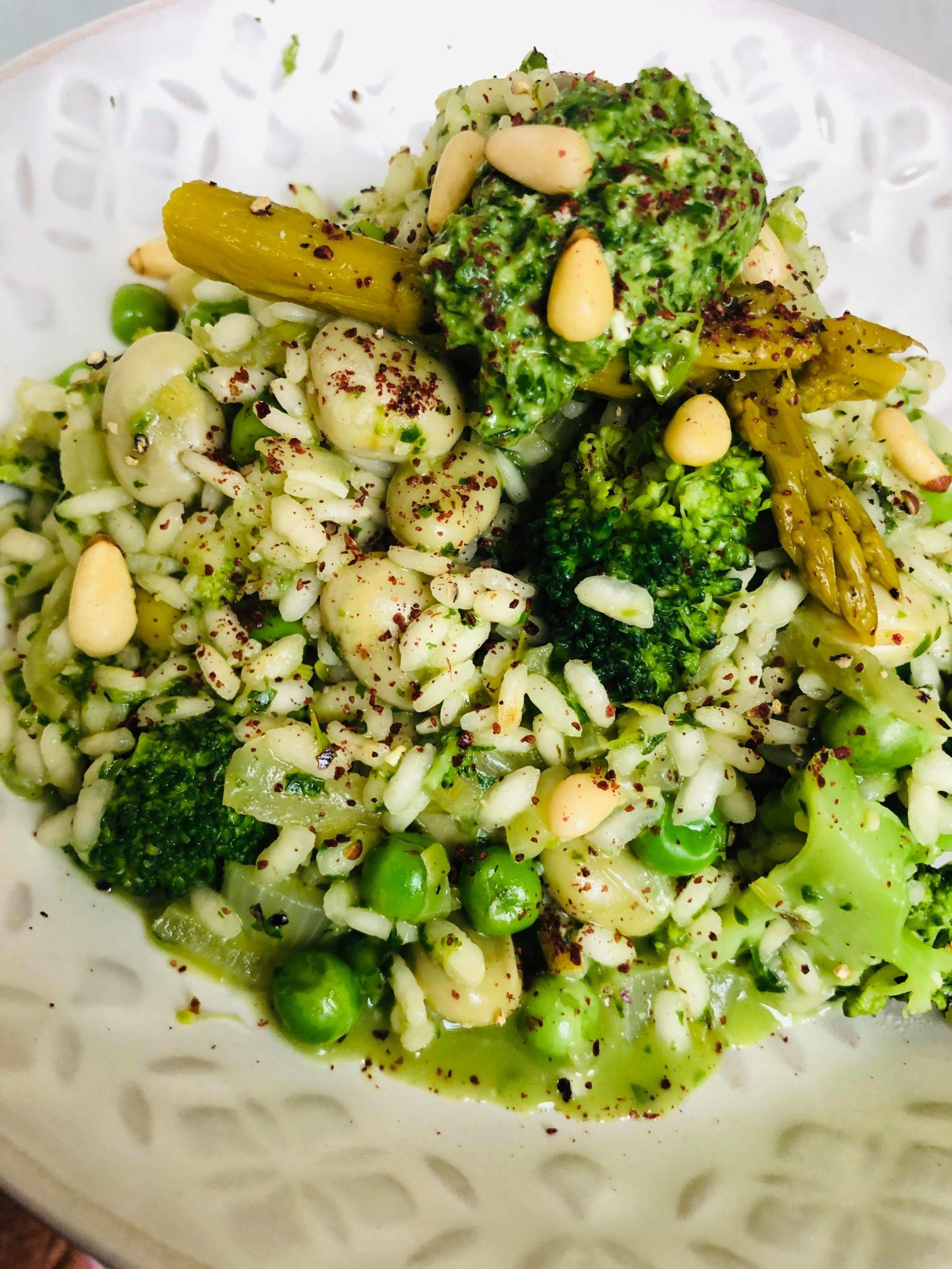 Easy Super-Green Vegan Vegetable Risotto