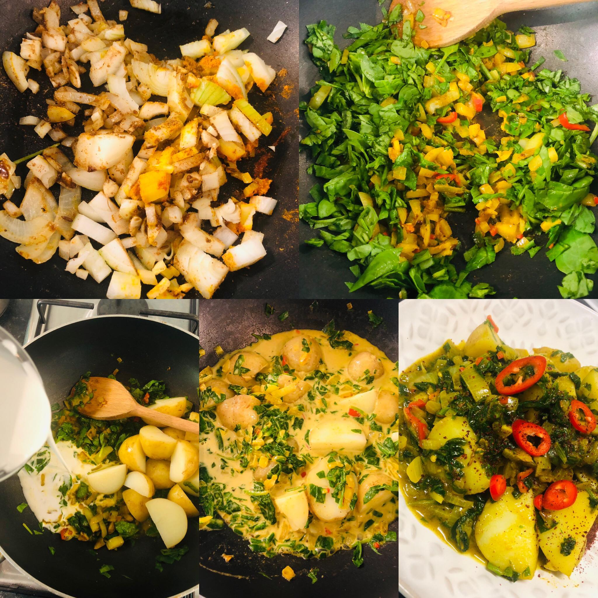 Easy Vegan Aloo Palak (Spinach Potato Curry)