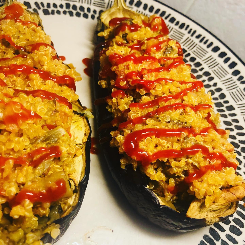 Easy Mediterranean Quinoa Stuffed Eggplant
