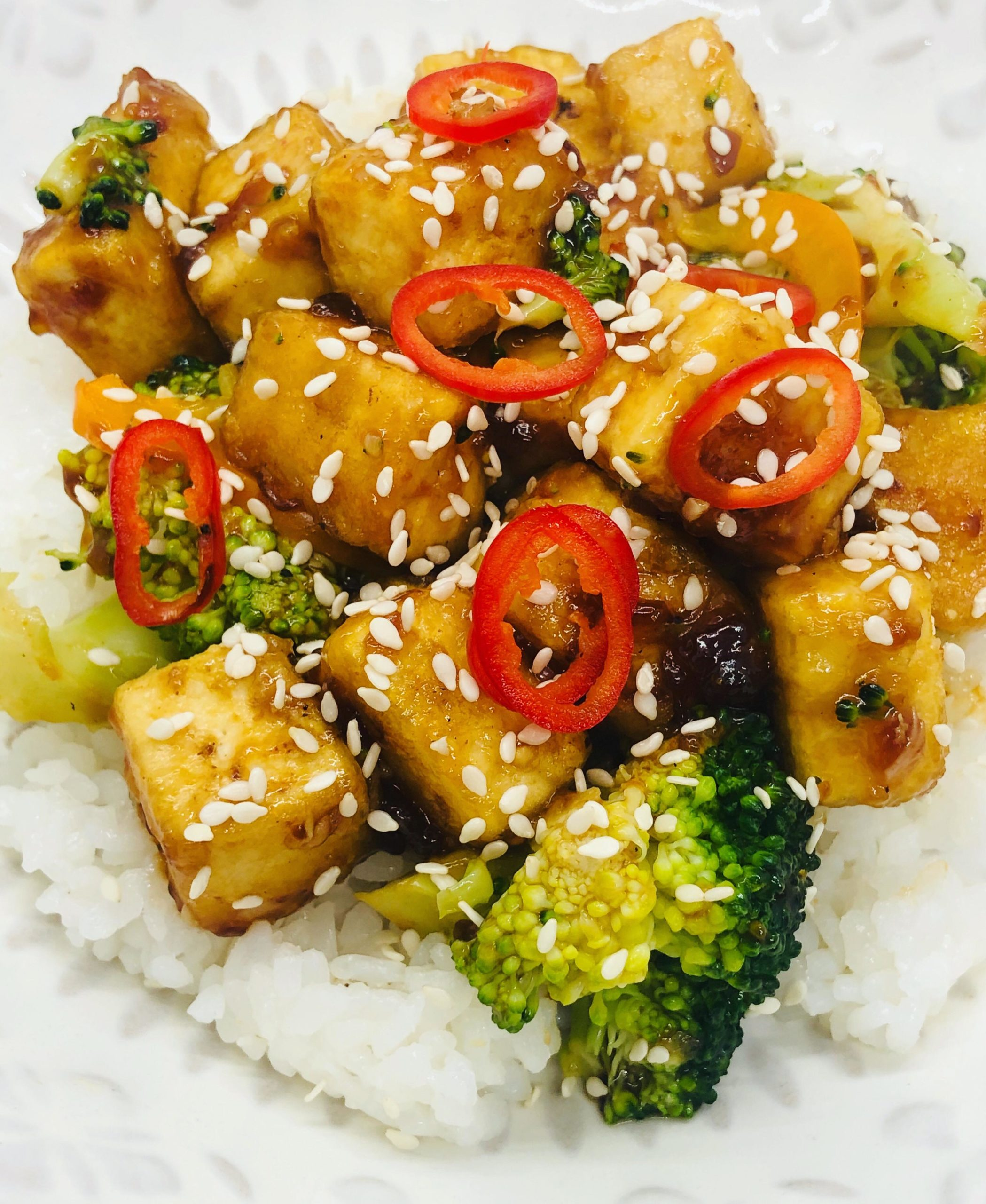 Sticky Gingery-Orange Tofu With Broccoli