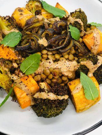 Healthy Lentil Butternut & Tahini Salad