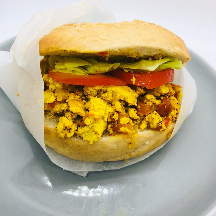 Vegan Scrambled Tofu Breakfast Bagel