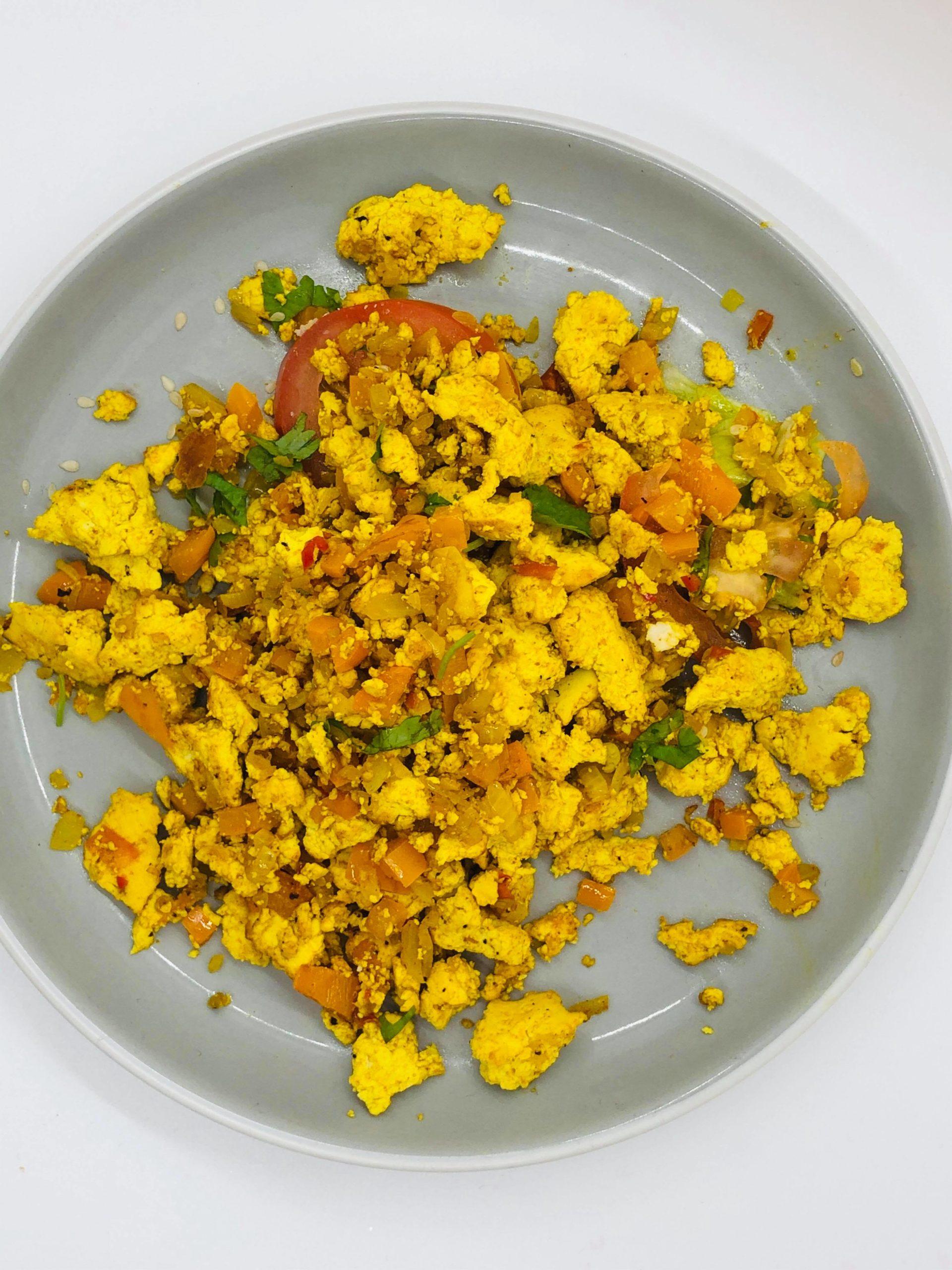 Vegan Scrambled Tofu Breakfast Bagel