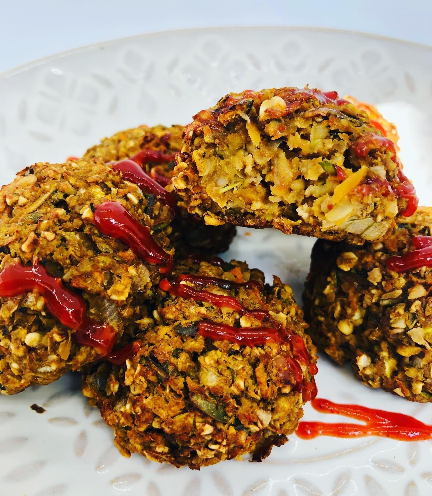 Easy Healthy Vegan Zucchini 'Meatballs' (Oil + Gluten-Free)