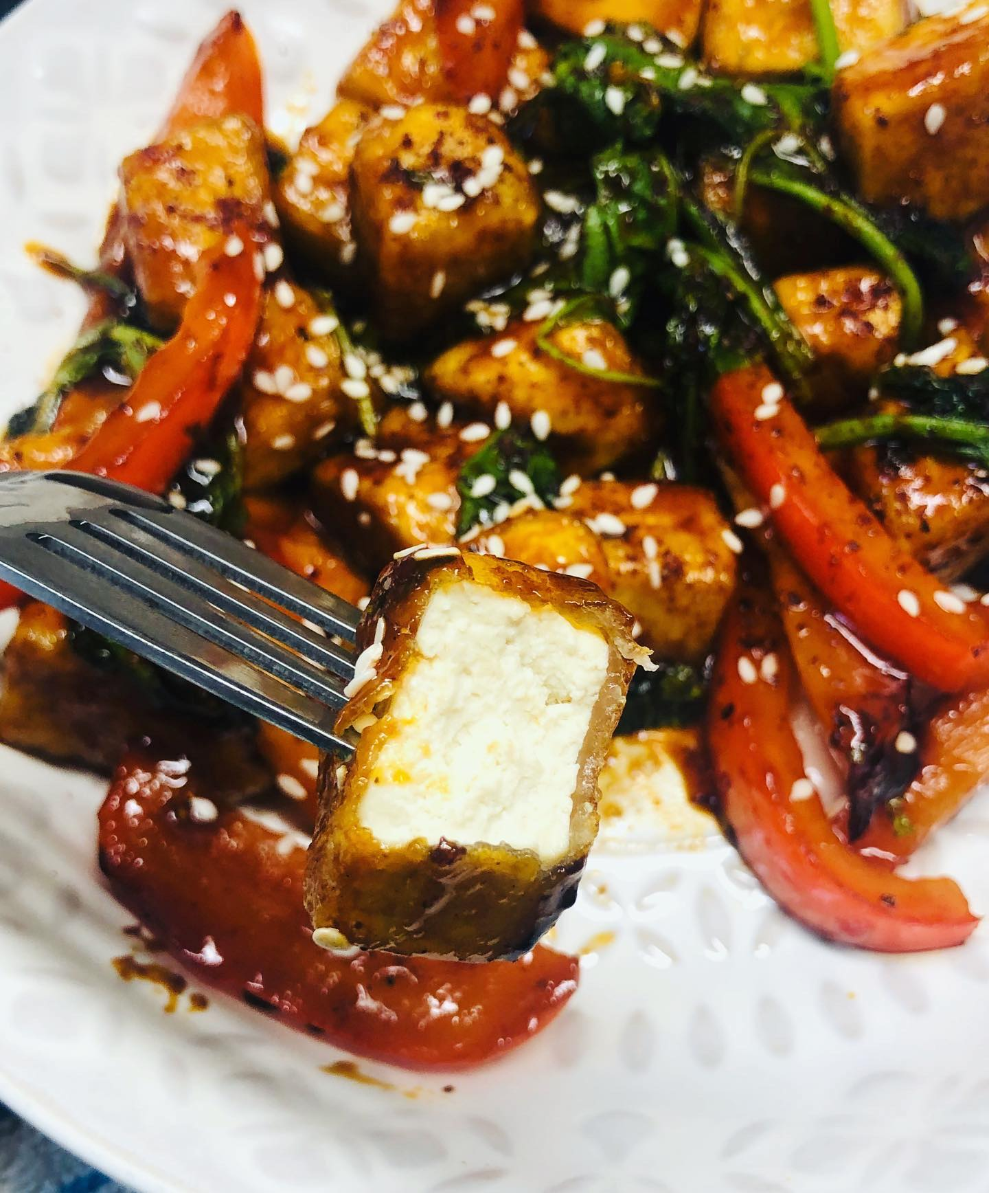 Sticky Pomegranate Glazed Tofu Stir-Fry