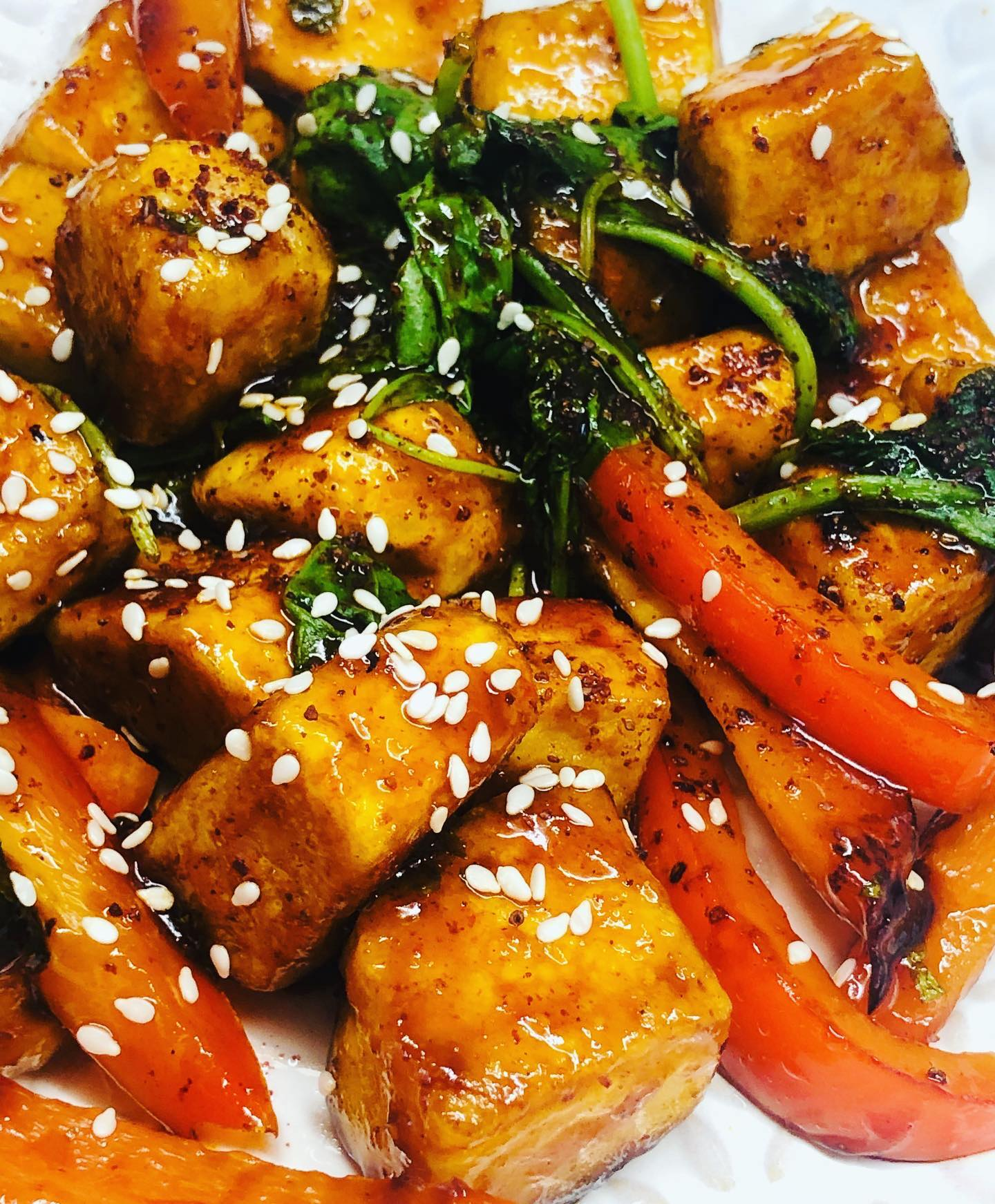 Sticky Pomegranate Glazed Tofu Stir-Fry
