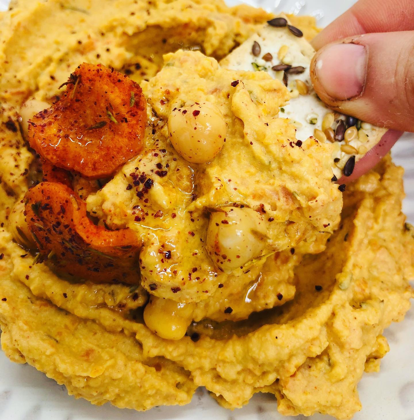 Easy Spiced Roasted Carrot Hummus