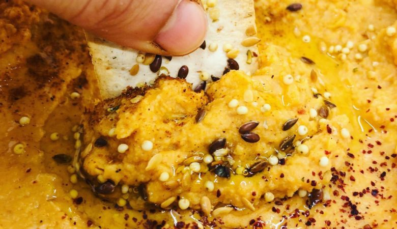 5-Minute Healthy Curried Pumpkin Hummus