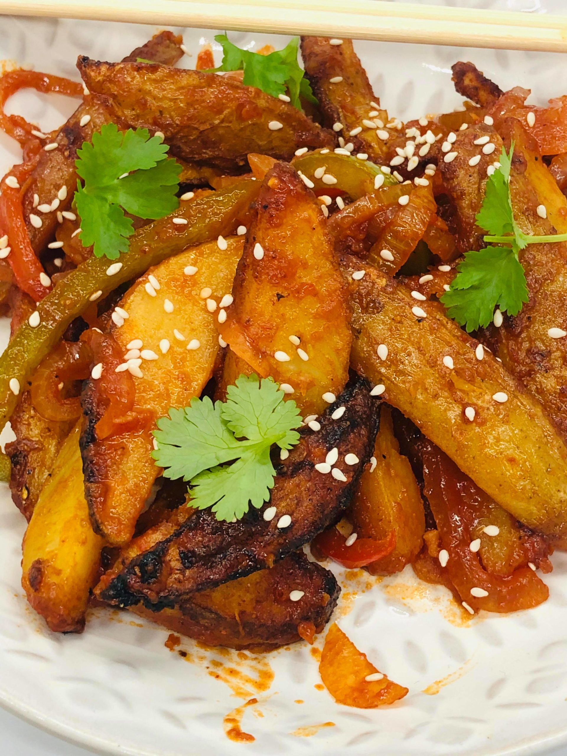 Vegan Chinese Sweet Chili Crispy Fries