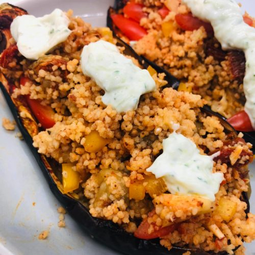 Easy Vegan Mediterranean Stuffed Eggplant With Tzatziki