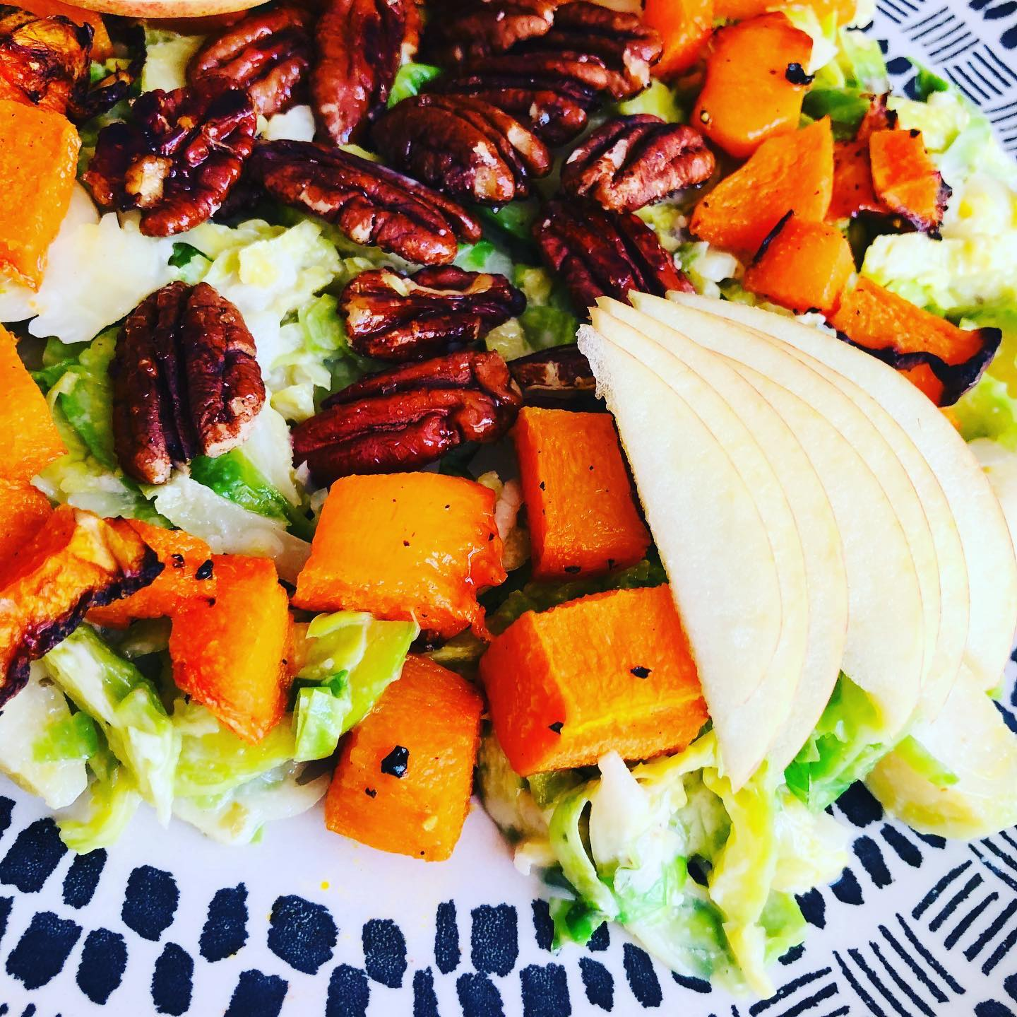 Easy Maple Butternut Pecan & Brussels Sprout Salad