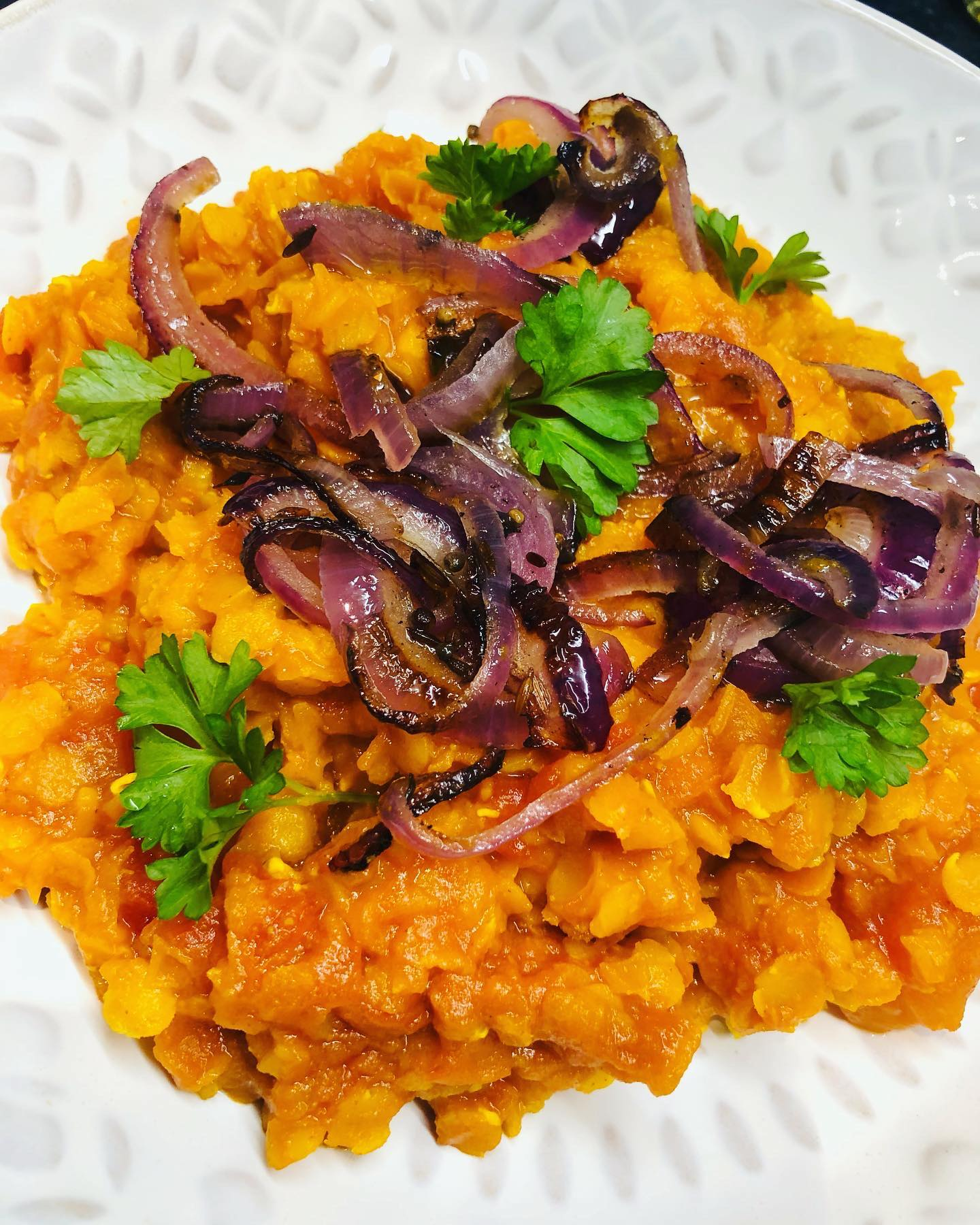 Easy Vegan Tomato Dhal With Onion Tarka