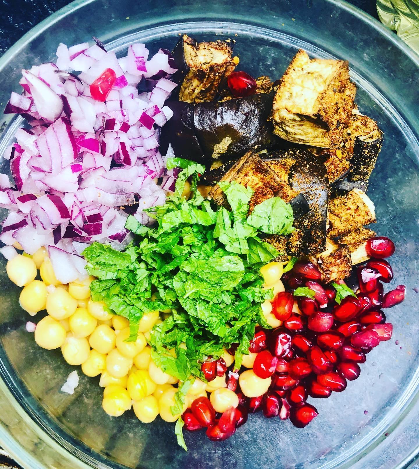 Oil-Free Roasted Eggplant Chickpea Salad