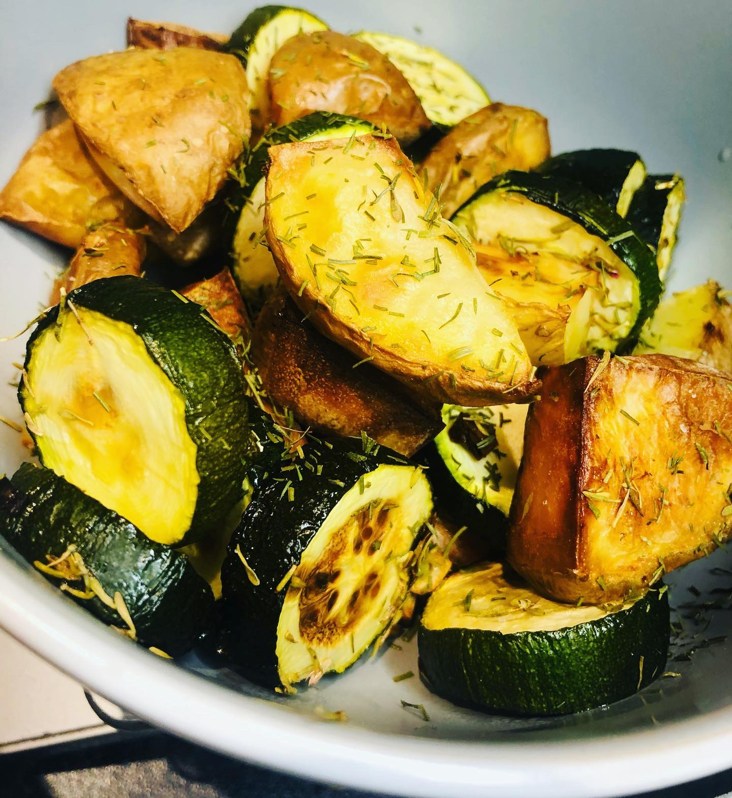 Oil-Free Roasted Potatoes With Zucchini