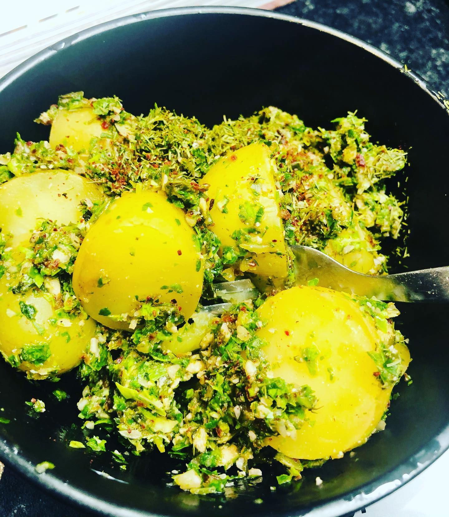 Nut-Free Vegan Pesto New Potatoes
