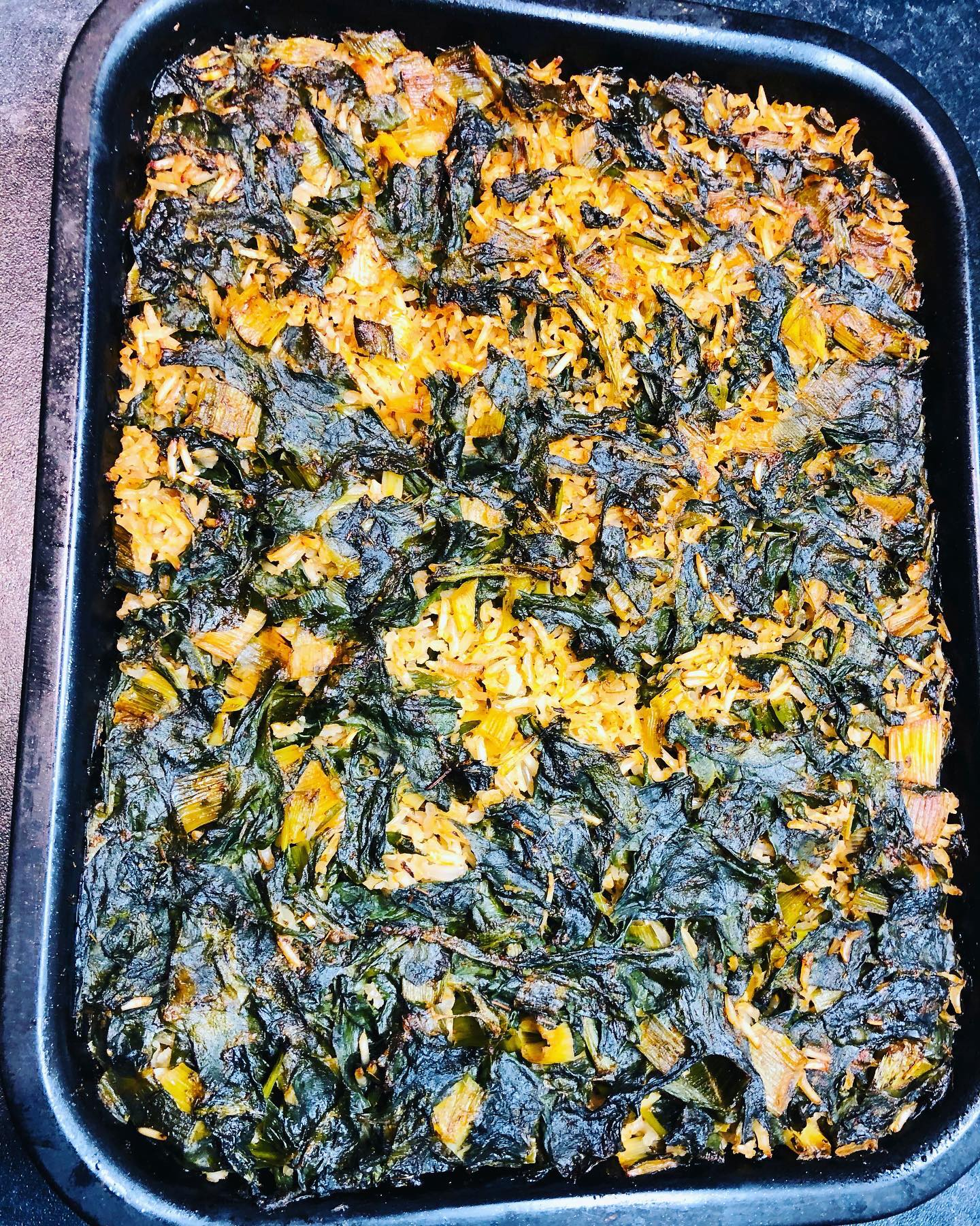 Oven-Baked Rice With Spinach