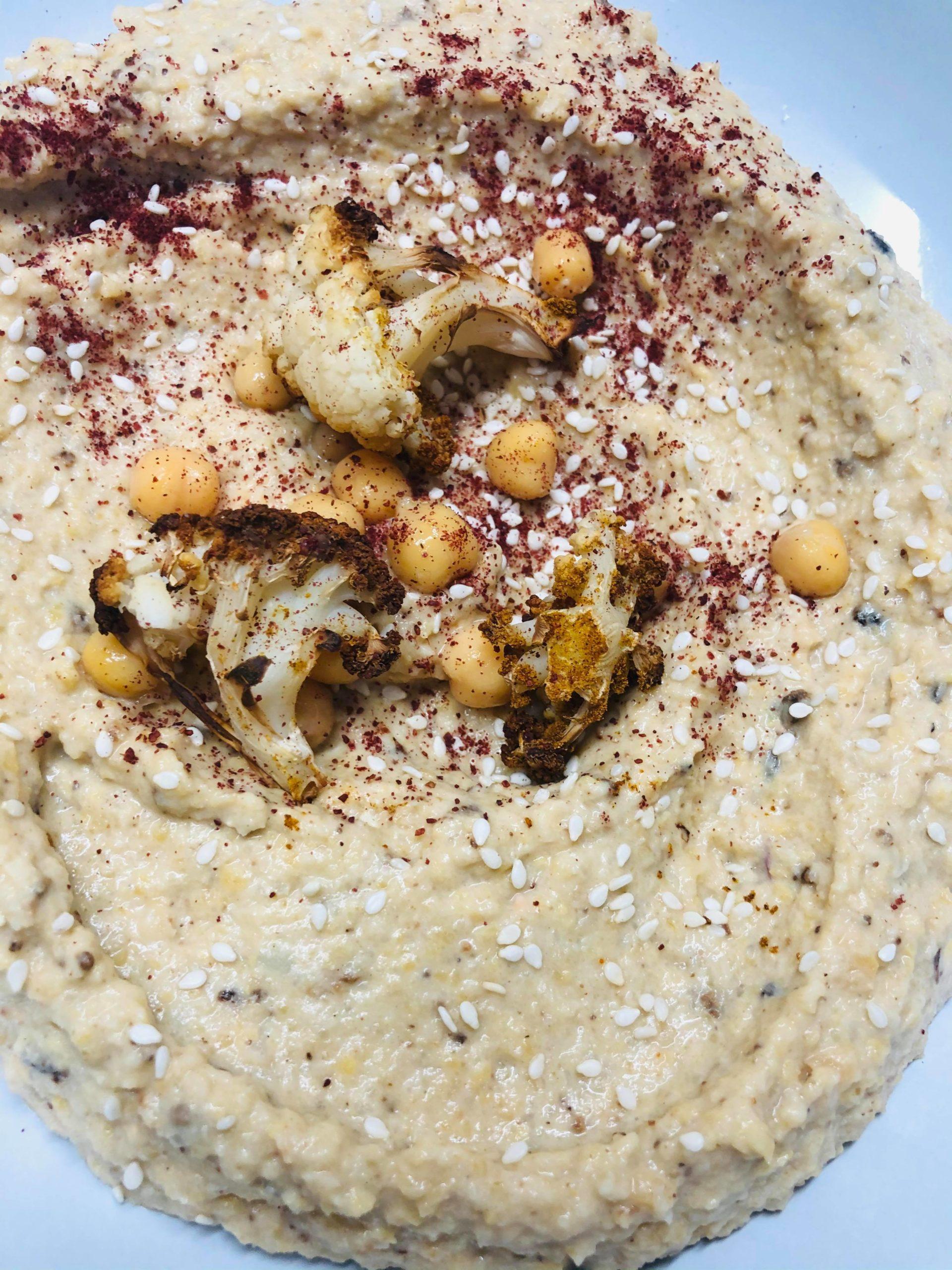Curried Oil-Free Cauliflower Chickpea Hummus