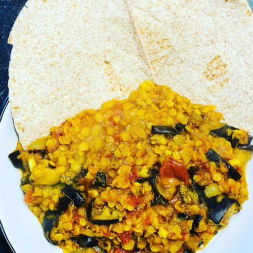 Oil-Free Red Lentil Eggplant Curry