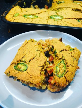 Chili Cornbread Bake (VE, GF, Oil-Free)