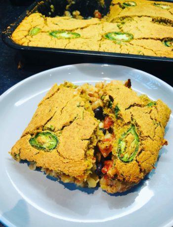 Chili Cornbread Bake (VE, GF, Oil-Free)