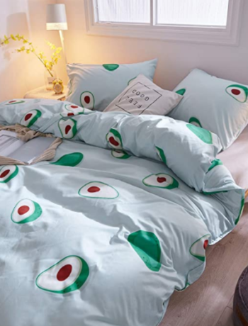 Duvet Cover Set Queen Size Tropical Fruit Halved Avocado Pattern